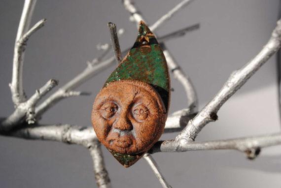ceramic pendant leaf face ornament clay pendant necklace