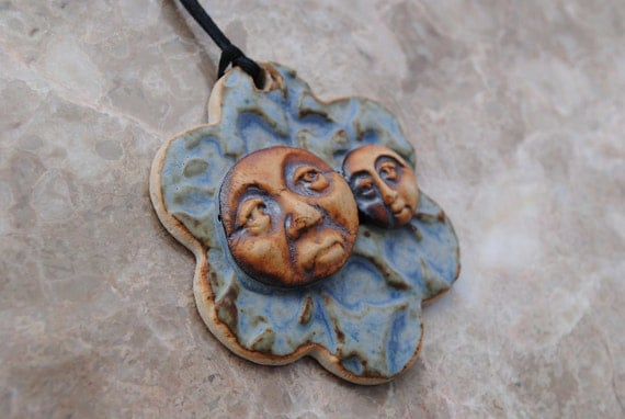 Ceramic pendant flower face necklace clay ornament focal bead