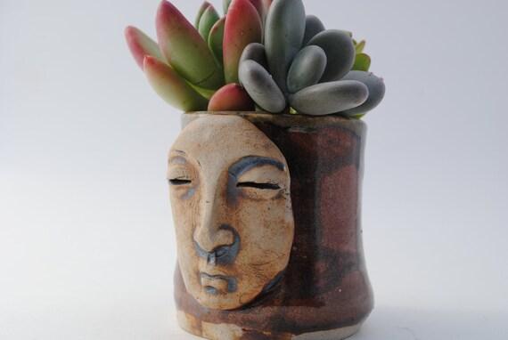 garden planter pot ceramic buddha face dish garden brown