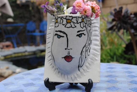 ceramic wall pocket flower holder wall vase art nouveau flower vase