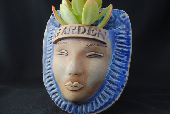 garden face planter ceramic wall pocket mask clay face plant pot
