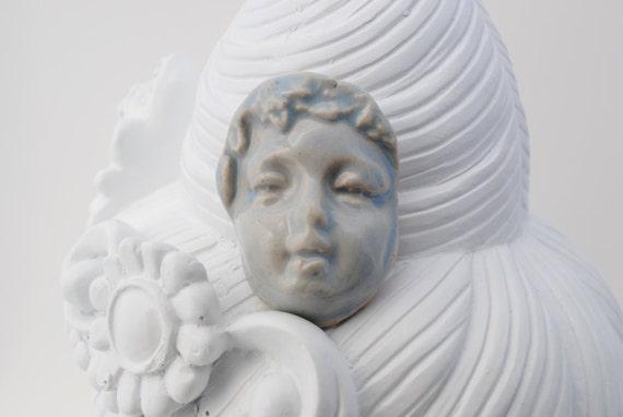 ceramic face cabochon clay face cab celadon blue angel face
