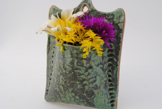 ceramic wall pocket textured art nouveau green wall vase