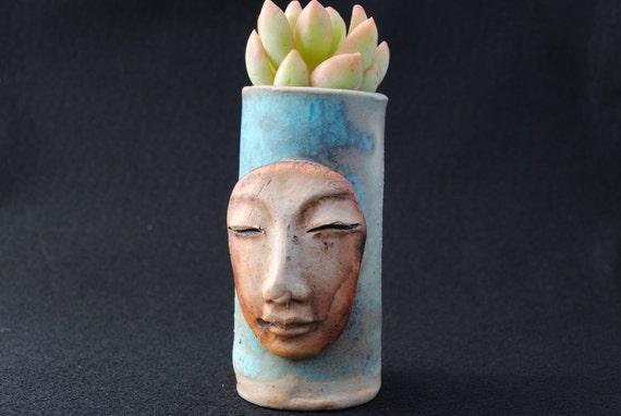 ceramic garden planter buddha zen miniature mask clay  plant pot