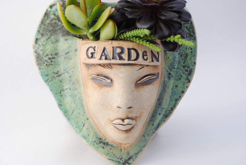 Ceramic Planter Garden Planter Face Planter Moss By