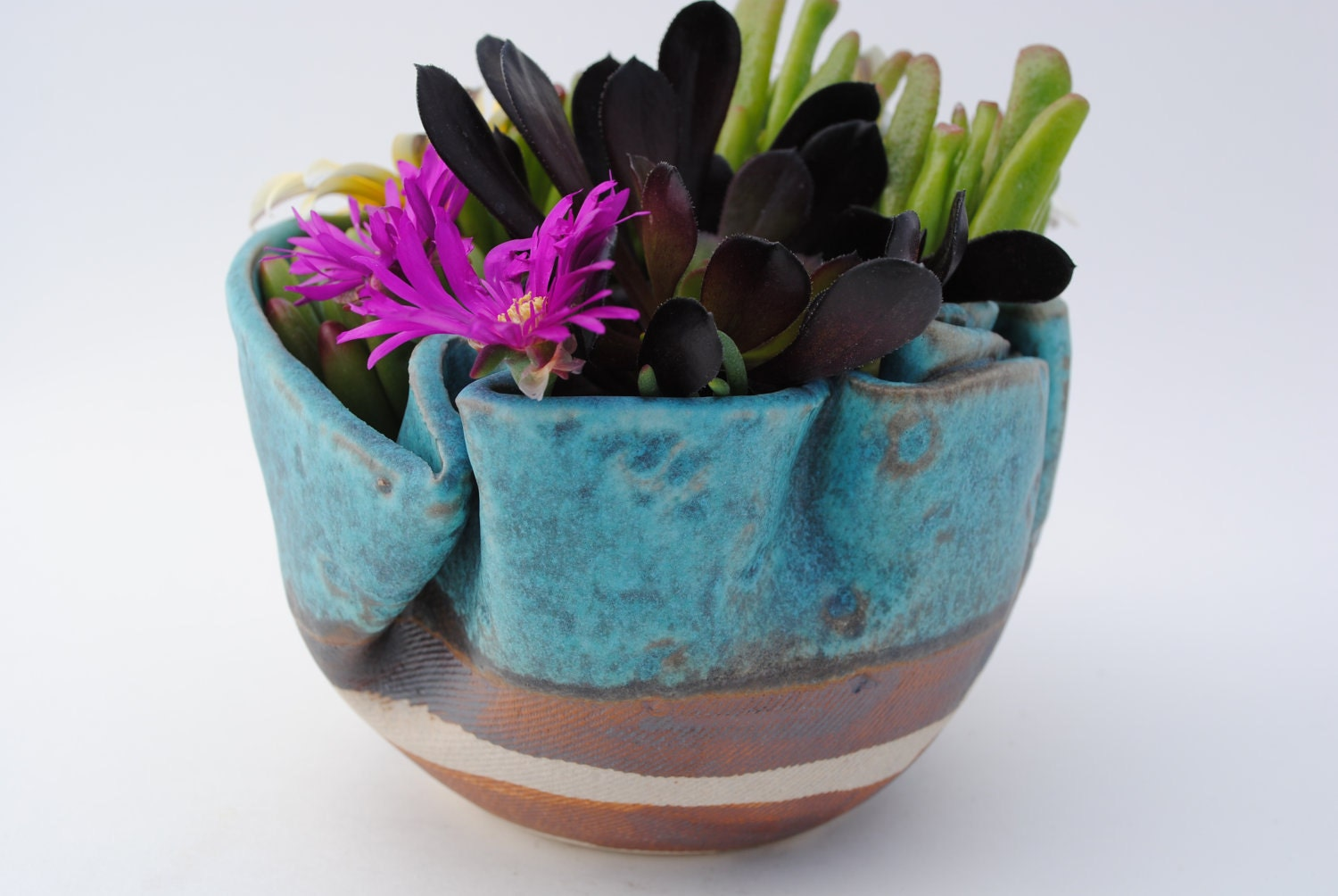 Garden Planter Bowl Ceramic Plant Pot Meditation Vessel Clay