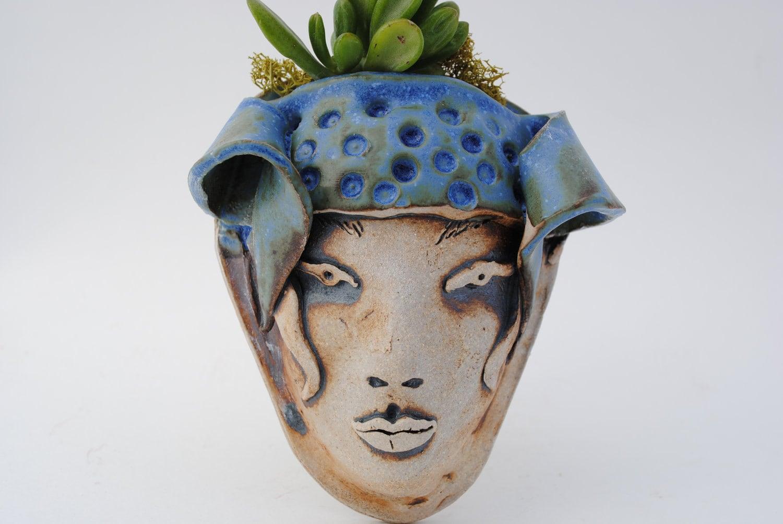 Ceramic Face Planter Garden Mask Wall Pocket Succulent Planter