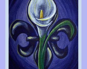 Fleur de Lily poster Calla Lily Fleur de Lis New Orleans Signed