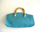 Retro Leather Aqua Purse with Marbled Acrylic Handle
