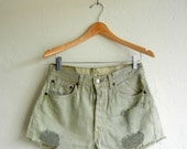 Pastel Pistachio Distressed Levi's Denim Shorts