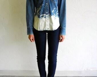 """Vintage """"Splashed"""" Button Up Denim Shirt"""