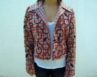 Orange and Blue Plaid 70s Blazer Jacket
