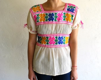 The Vintage Hot Pink Trimmed Ethnic Mexican Top