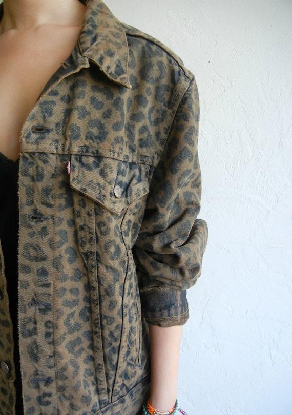 Dark Brown Leopard Levi's Denim Jacket