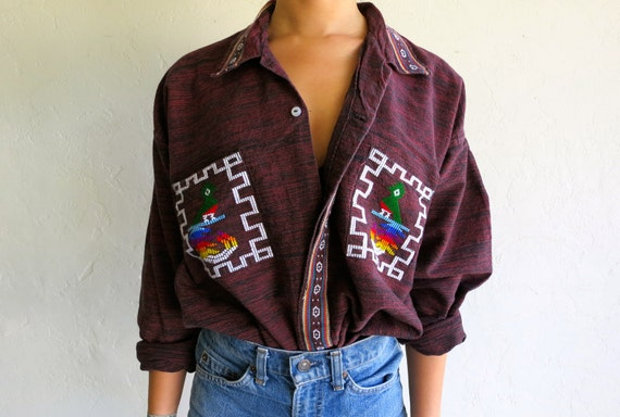 Vintage Ethnic Embroidered Guatemala Button Up Shirt