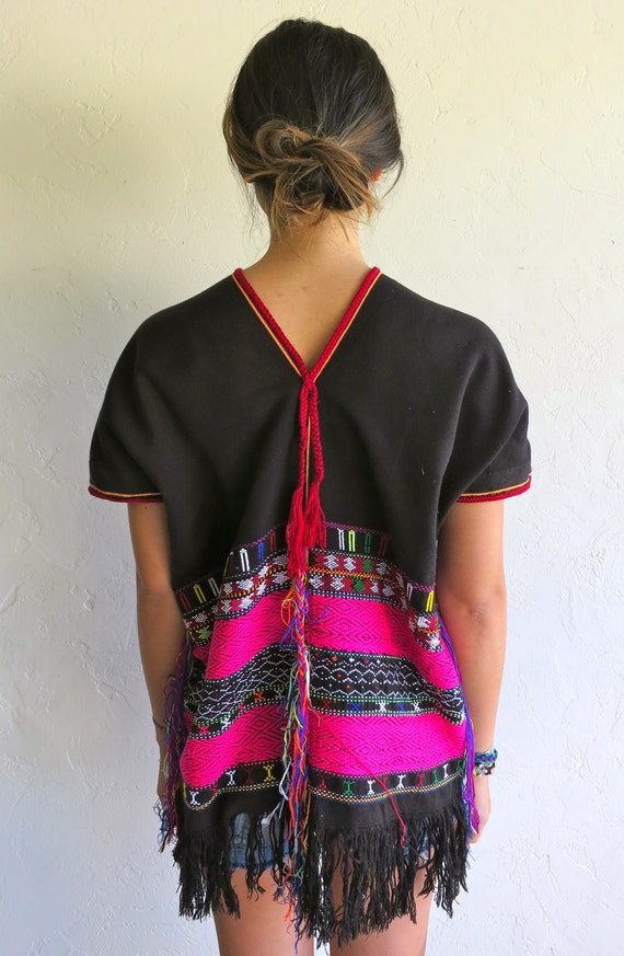 Ethnic Black Neon Pink Trim Tunic