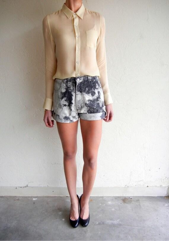 Black Marbled Jean Shorts