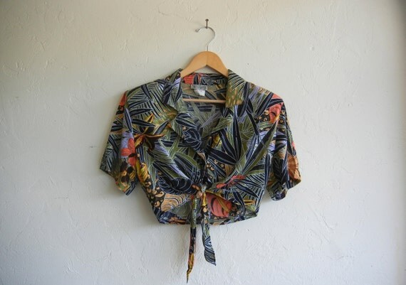 Vintage Hawaiian Print Crop Top