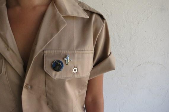 """Tan """"Boy Scout"""" Military Shirt"""
