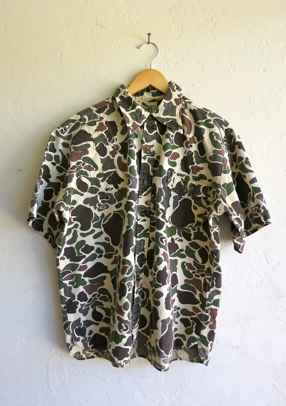 Short Sleeved Camo Button Up Shirt By Rerunvintage On Etsy