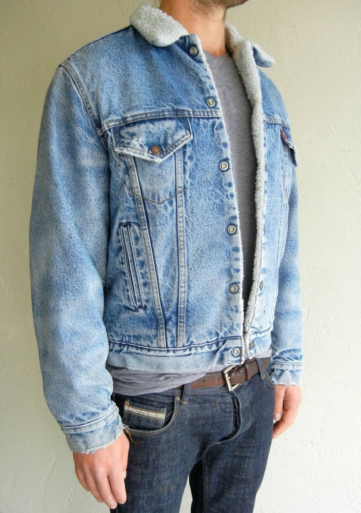🔎zoom - Classic Mens Vintage Levi's Sherpa Lined Denim Jacket