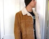 SALE 24.00 was 38.00 Men's Suede and Faux Sheepskin Jacket size L