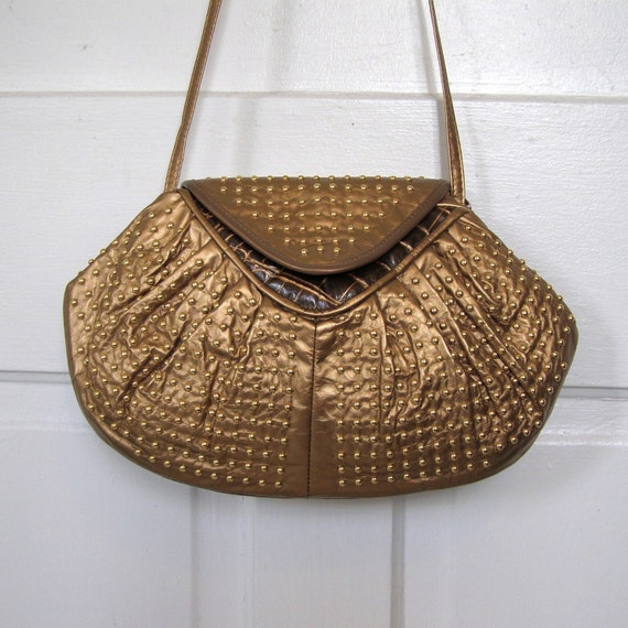 CLEARANCE 10.00 was 32.00 Fabulous Eighties Party Purse in Studded Gold Leather