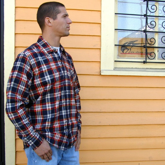Soft cotton flannel shirt in white blue and burgundy size for Super soft flannel shirts