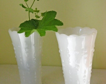 Vintage Milk Glass Vases - Matching Pair
