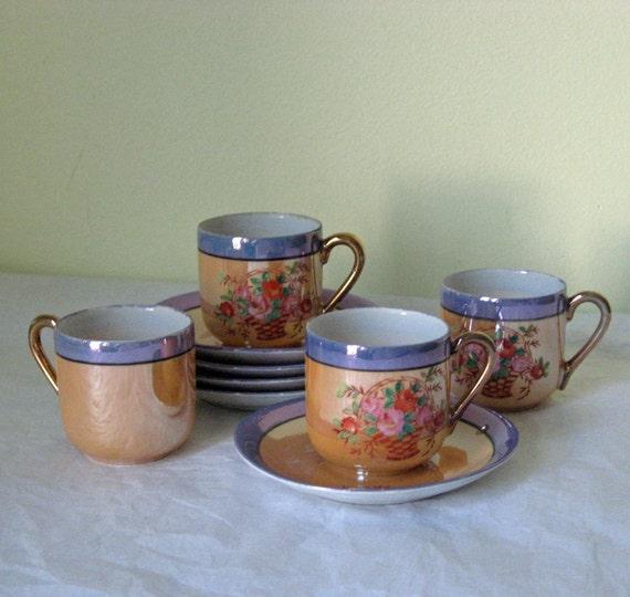 Reserved for TT - Vintage Noritake Lustreware Demitasse - Set of Four - Fine Porcelain