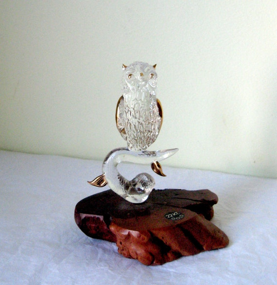 On Reserve -------Vintage Owl Figurine - Crystal - 22 Karat Gold - Wood - Odditie