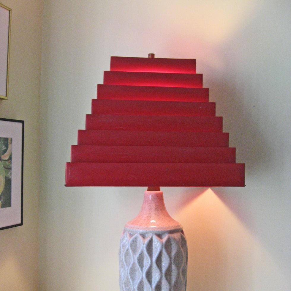 Vintage Red Metal Venetian Folding Lamp Shade By Premco