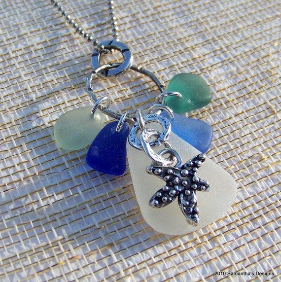 SALE....Authentic Sea Glass Handcrafted Artisan Sterling Silver Necklace