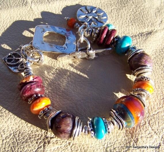 SALE...Rare Gemstones, Lampwork Handcrafted Artisan Sterling Silver Bracelet...REDUCED FROM 189.95