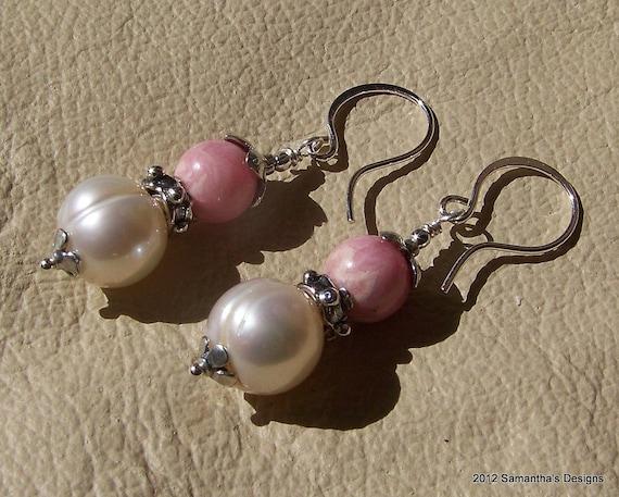 SALE...Rhodochrosite, Freshwater Pearl Artisan Sterling Silver Earrings
