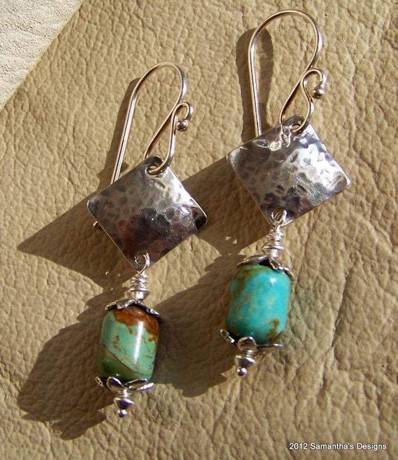 SALE...Kingman Boulder Turquoise Artisan Sterling Silver Earrings