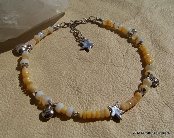 RESERVED For Gardenstategirl...Oregon Butterscotch Opal, Orgeon White Opal Handcrafted Artisan Sterling Silver ANKLET