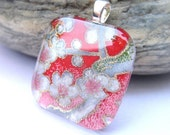 CLEARANCE Premium Cut Square Glass Tile Pendant Necklace in Japanese Gardens in Pink. Japanese Chiyogami Asian Paper and Handmade Glass Tile