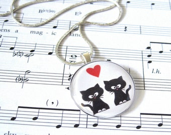 Kitties in Love Circle Glass Tile Pendant Necklace - As Gifted To Rachael Ray