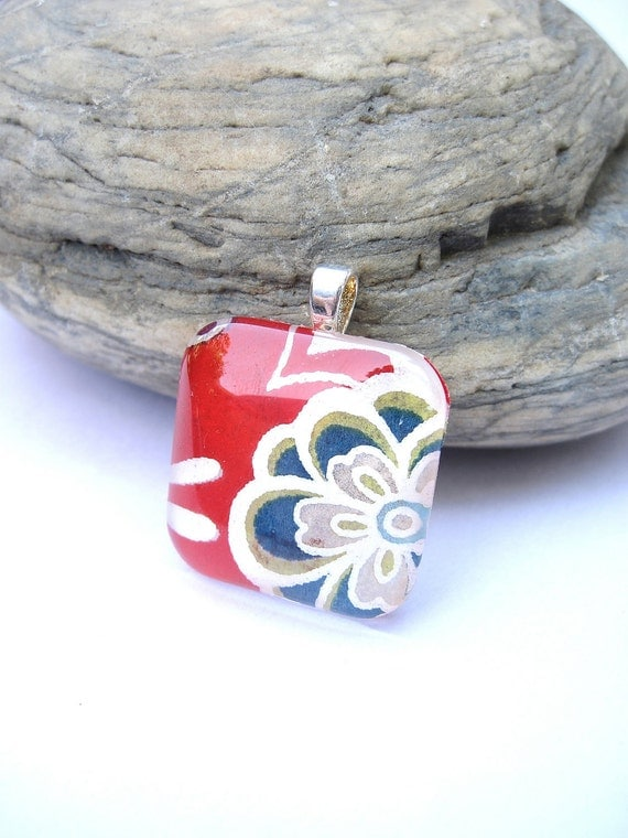 BLACK FRIDAY STEAL Chiyogami Rainbow Flower Premium Cut Square Glass Tile Pendant Ooak - One of a Kind - with chain