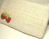 Fruit, Appliqued Linen Lace Zipper Pouch B00009A