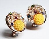 Gold Tone Yellow Resin Colorful Rhinestone Crystal Beaded Metal Ear Rings - E00002