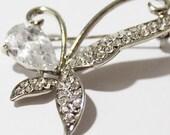 Silver Tone Butterfly Translucent Rhinestone Crystal Metal Brooch - B00030