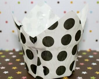 Black & White Polka Dots Baking Cups