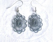 Oval Filigree Earrings in Antiqued Silver