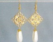 Gold Filigree and White Pearl Teardrop Pierced or Clip On Earrings, 12 Colors Available