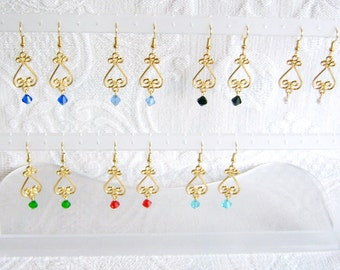 Fancy Gold Scroll with Choice of Crystal Color, Pierced or Clip On Earrings