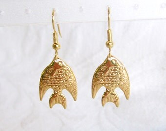 Gold or Silver Angelfish Pierced or Clip On Earrings