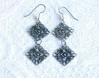 Long Antiqued Silver Filigree Double Linked Charm Pierced Earrings