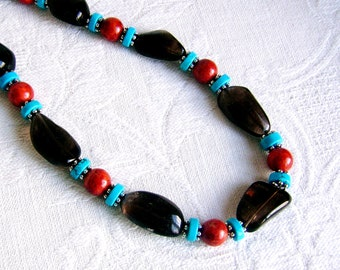 Large Smoky Quartz Nuggets with Red Coral and Turquoise Necklace